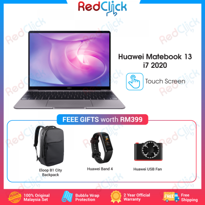 Huawei MateBook 13 i5/i7/WRTB-WFH9L (10th Gen/16GB RAM/512GB SSD/MX 250 Graphic/Touch Screen) Original Huawei Malaysia Set + 3 Free Gift Worth RM399