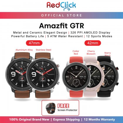 (Official Amazfit) Amazfit GTR 42mm (A1910) Smart Watch 47mm (A1902) Smart Watch 326 PPI AMOLED Display Waterproof IP68 Fitness Tracking GPS+Glonass 410mAh Up to 74 day battery life + Free Gift