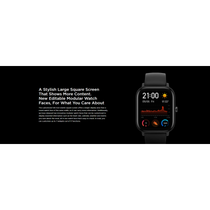 "(Official Amazfit) Amazfit GTS (A1914) Smart Watch 1.65"" 341 PPI AMOLED Display Slim Metal Body Waterproof 12 Sports Mode 220mAh 14 Day Battery Life + Free Gift"