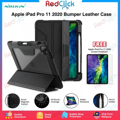 Nillkin Apple iPad Pro 11 2020 Bumper Leather Flip Case Stand Design with Pencil Holder Magnetic Cover Anti Shockproof Tough + Screen Protector