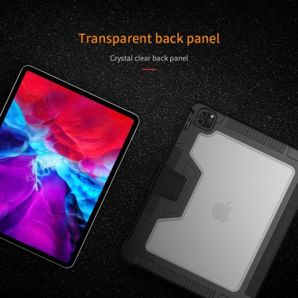 Nillkin Apple iPad Pro 12.9 2020 Bumper Leather Flip Case Stand Design with Pencil Holder Magnetic Cover Anti Shockproof Tough + Screen Protector