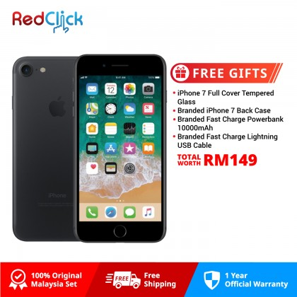 Apple iPhone 7 128GB LTE Original Apple Malaysia Set + 4 Free Gifts Worth RM149