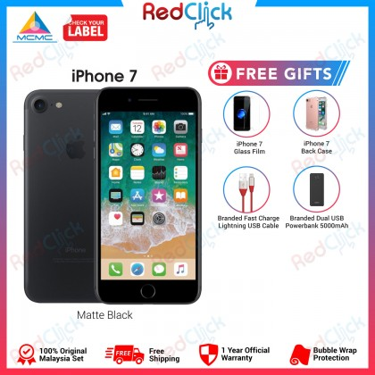 Apple iPhone 7 128GB LTE Original Apple Malaysia Set + 4 Free Gifts Worth RM99