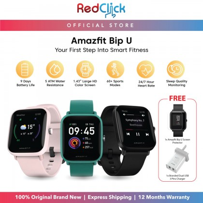 "(Official Amazfit) Amazfit Bip U (A2017) Smart Watch 1.43"" Large Color Display 31g Super-Light Body Water Resistant support Blood-Oxygen measurement up to 9 Day Battery Life 60+ Sports Modes Original Amazfit Malaysia Product + Free Gift"