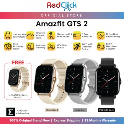 """(Official Amazfit) Amazfit GTS 2 1.65"""" AMOLED Display 3D Curved Bezel-less Design Music Storage Build-in Mic and Speaker Support Phone Call + Free Gift"""