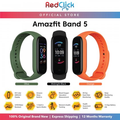 "(Official Amazfit) Amazfit Band 5 (A2005) Smart Band 1.1"" Full Color AMOLED Display 5ATM Water Resistance support Blood-Oxygen measurement up to 15 Days Battery Life 11 Sports Modes Original Amazfit Product"