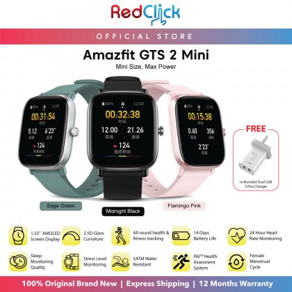 "(Official Amazfit) Amazfit GTS 2 Mini A2018 1.55"" AMOLED Always On Display Heart Rate Monitoring Sp02 Measurement up to 14 days Battery Life  Cycle Tracking + Free Gift"