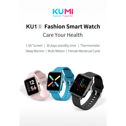 "Kumi KU1S 1.54"" Display Support Blood Pressure And Female Menstrual Cycle Tracker Water Resistant IP68 Smart Watch"